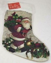 Santa Claus & Reindeer Christmas Stocking Old Fashioned Look Country NEW... - $12.99