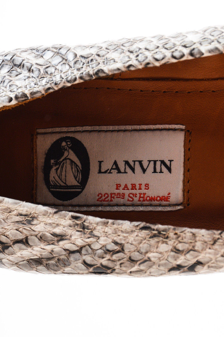 Lanvin NIB Cream Black Snakeskin Wooden Wedge Heel Ballerina Pumps SZ 41