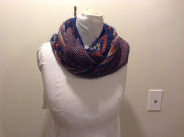Infinity Scarf Red Blue White Diamond Pattern Fringe Edge New