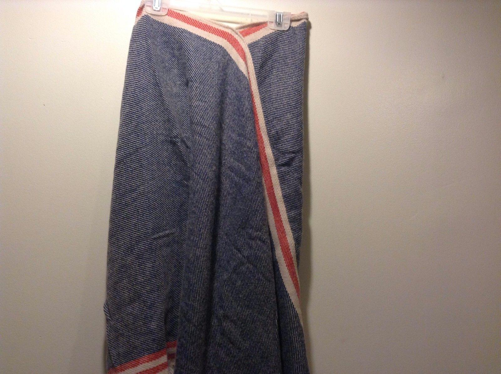 Life Is Beautiful Red White Blue Striped Shawl Wrap Scarf Denim