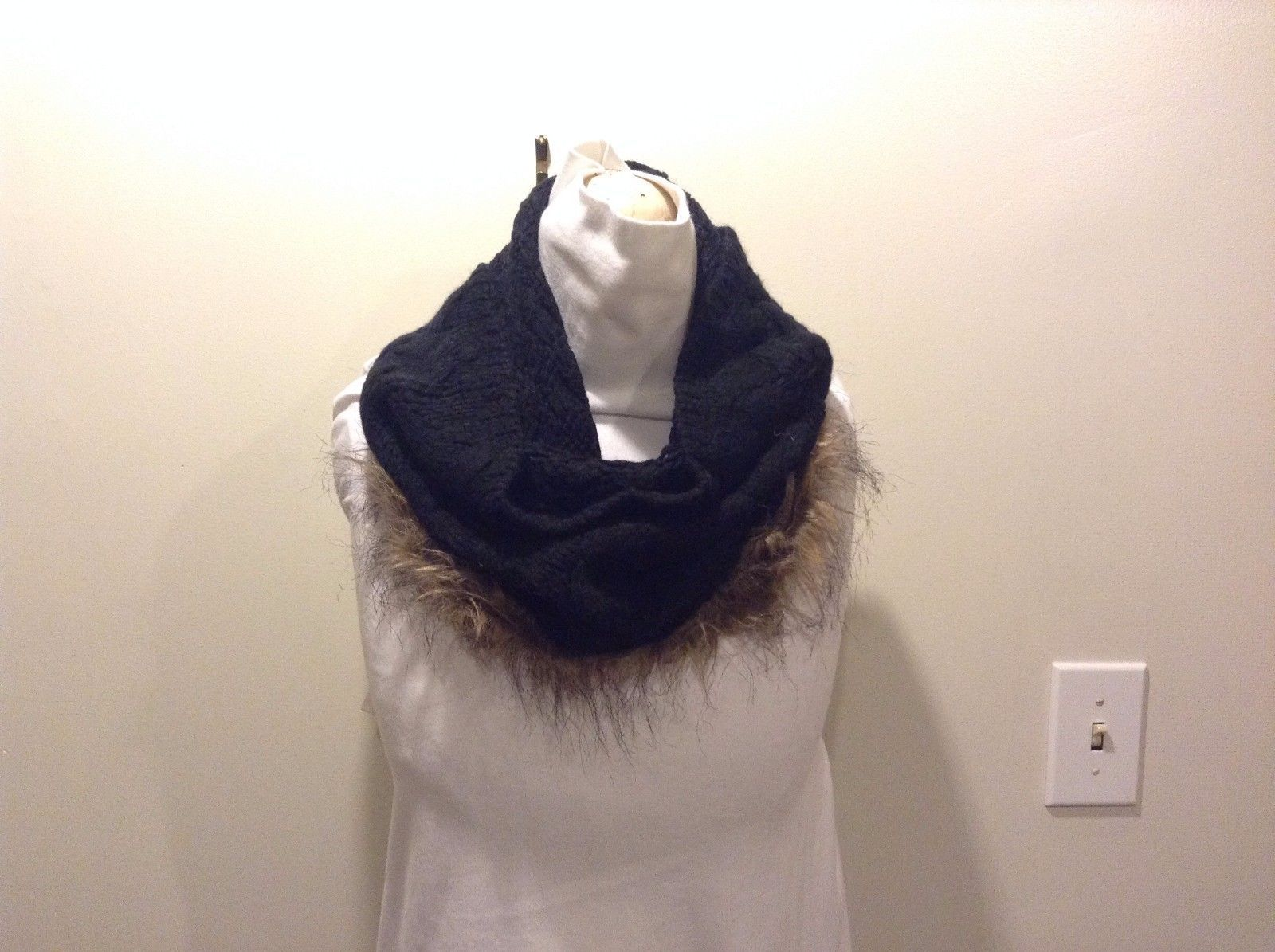Black Cross Knit Brown Fringe Infinity Scarf