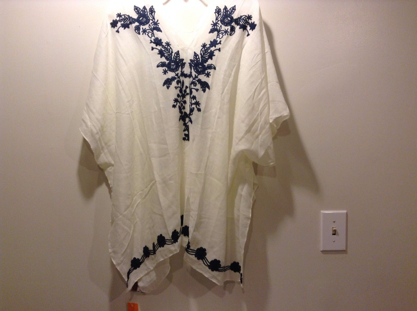 Love of Fashion White Cover Up Shirt Sheer Beautiful Blue Floral Pattern Collar