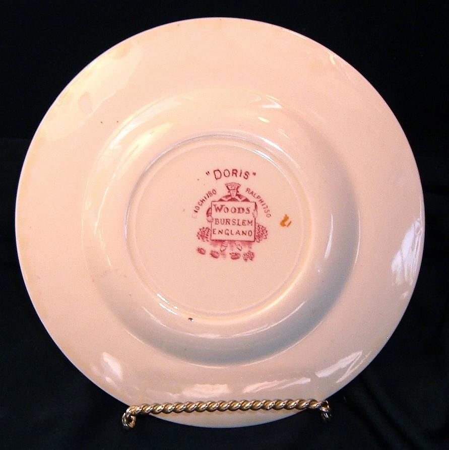 "Woods Burslem DORIS Bread Plate 6"" Dish VTG Enoch+Ralph Wood XLT Red Rim England"
