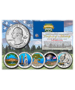 2013 America The Beautiful COLORIZED Quarters U.S. Parks 5-Coin Set w/Ca... - ₨827.86 INR