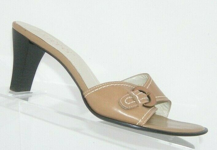 Franco Sarto brown leather buckle slip on slide mule sandal heels 7.5M 7627