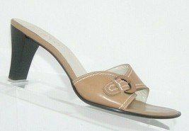 Franco Sarto brown leather buckle slip on slide mule sandal heels 7.5M 7627 - $31.43
