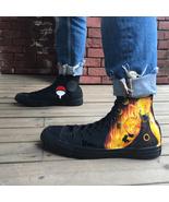 Uzumaki Naruto Anime Shoes Sasuke Converse All Star Hand Painted Sneaker... - $165.00