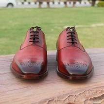 Handmade Men's Burgundy Burnished Leather Brogues Lace Up Dress Oxford Shoes image 1