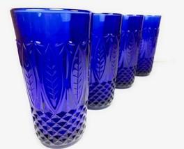 Avon Royal Sapphire Cobalt Blue Highball Tumbler 14 oz.Glasses -Set of 4... - $59.39