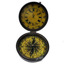 Pocket Watch Christmas Antique Clock with Compass Gift For Office Table Clock - $26.16