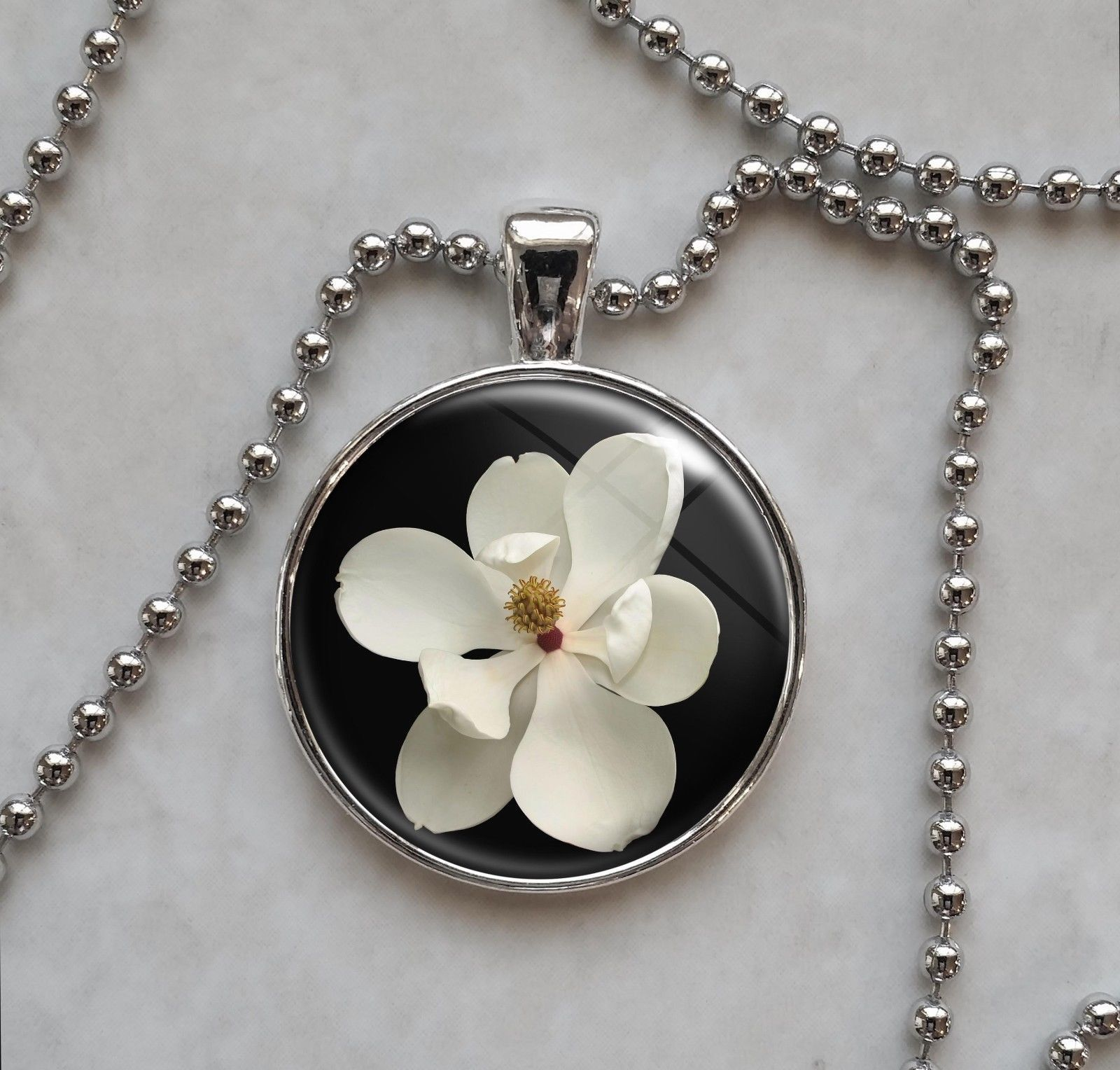 Primary image for Magnolia Grandiflora White Wedding Flower Botany Pendant Necklace