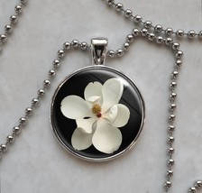 Magnolia Grandiflora White Wedding Flower Botany Pendant Necklace - $14.85+