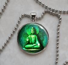 Green Buddha Meditation Nirvana Enlightenment Om Aum Pendant Necklace - $14.00+