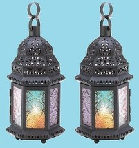 "Rainbow Glass Moroccan Candle Lantern 10 1/4"" (Set of 2) Wedding Supplie... - $24.00"