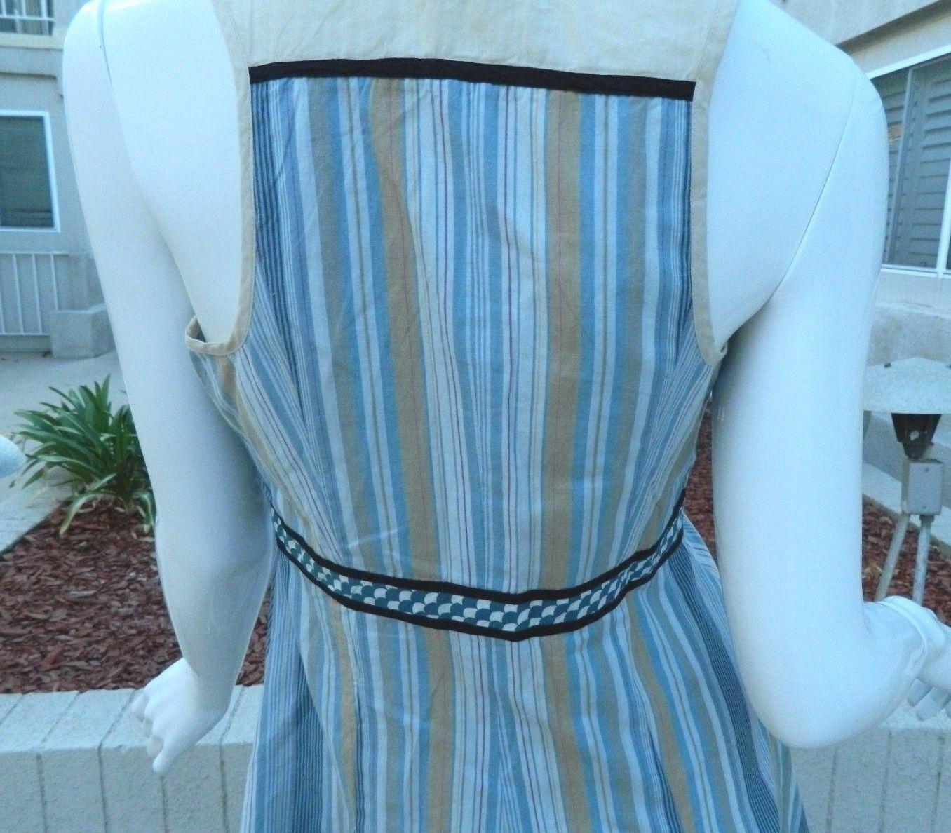 FREE PEOPLE Dress Cornflower Blue and Beige Striped Dress-Size 4