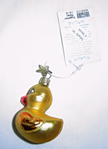 Noble Gems Yellow Duckling Hand Blown Glass Ornament - $8.95