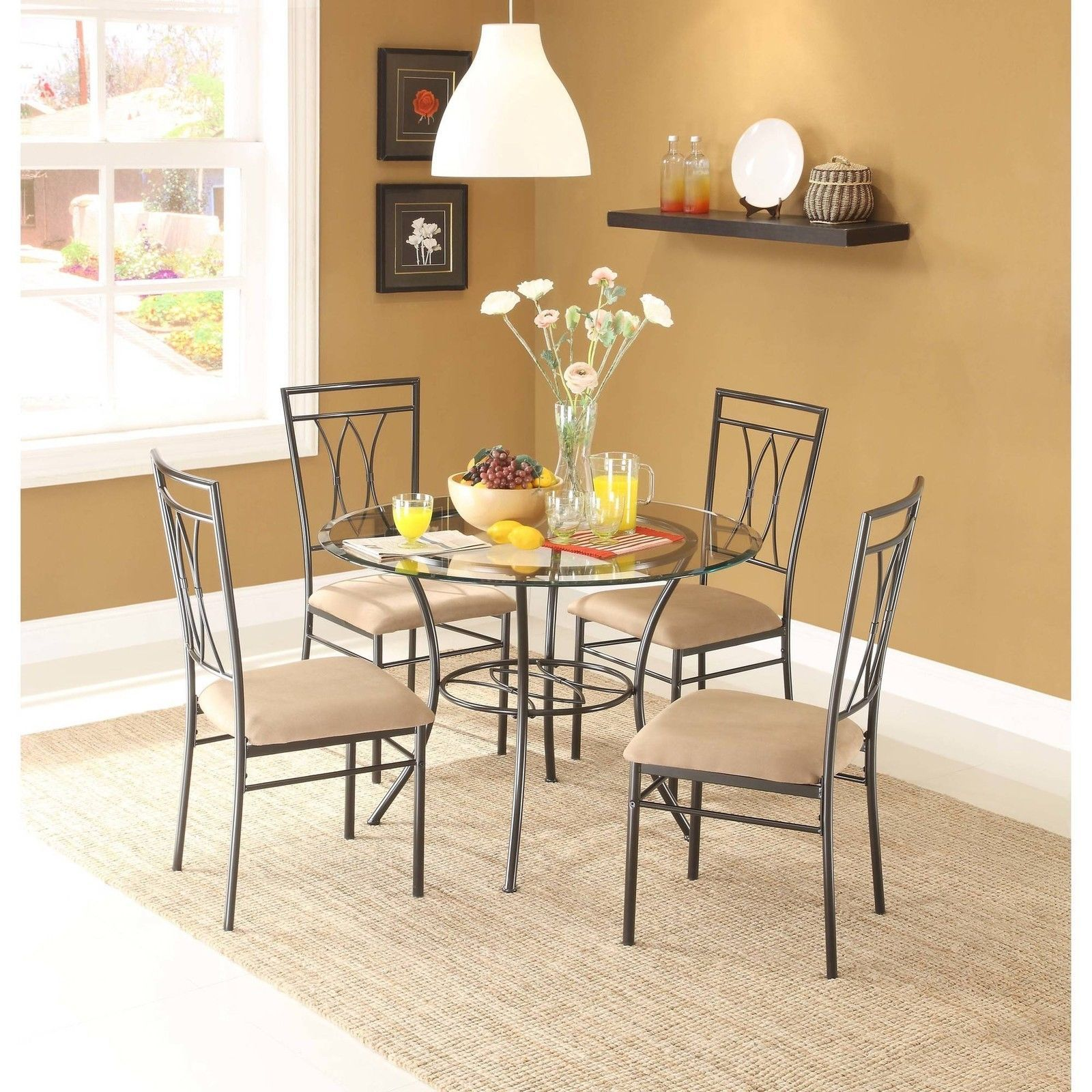 Mainstays 5 piece glass and metal dining set dining sets for Glass dining set