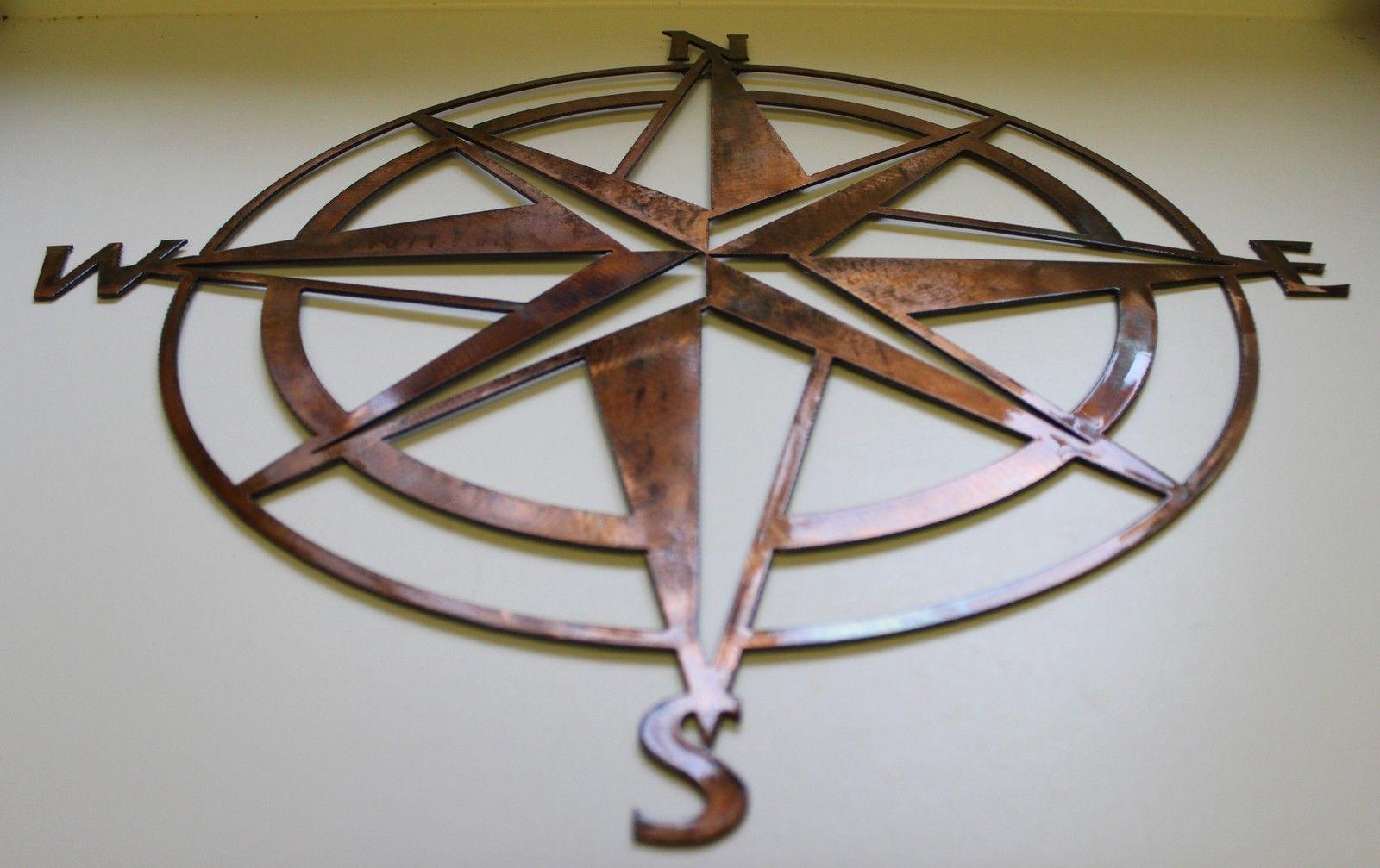 Nautical Compass Wall Decor : Nautical compass rose wall art decor quot copper bronze