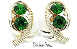 Kramer Vintage Rhinestone Earrings in Modern Fish or Bow Design  - $29.00