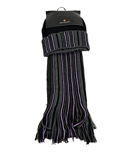New Unisex Black And Grey Acrylic Winter Set Scarf And Hat - SCFH211