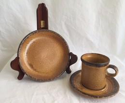 """3 Vintage McCoy Pottery 1412 Canyon Mesa Coffee Mug Saucer & 7.5"""" Desser... - $14.79"""