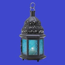 "Large Blue Moroccan Candle Lantern 12 1/4"" tall Wedding Party Supplies D... - $20.00"