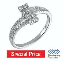 Solid 14K White Gold 0.43CT Real Natural Cluster Diamond Fashion Ring Je... - $445.50