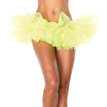 Leg Avenue Organza Tutu Costume Ballet Rave Petticoat Mini Skirt Neon Ye... - $14.01