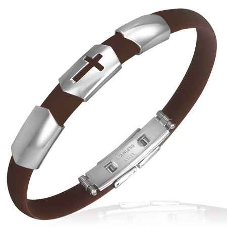 Stainless Steel Cut-out Latin Cross Brown Rubber Bracelet