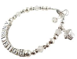 Birthday Cupcake Charm Name Bracelet, Girls Ste... - $38.50 - $53.50