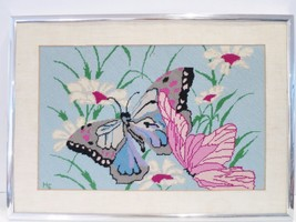 Needlepoint Butterflies & Flowers Framed Vintage - £133.45 GBP