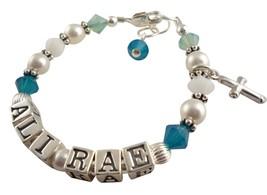 Caribbean Opal Cross Charm Name Girl Personaliz... - $38.50 - $53.50