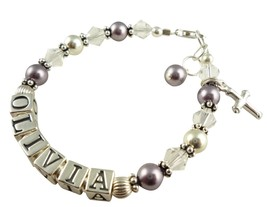 Mauve Pearl Christening Name Bracelet Girl Bapt... - $38.50 - $53.50