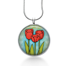 Red Tulips Necklace - Flowers Jewelry - Handmade - Art Pendant - $18.32