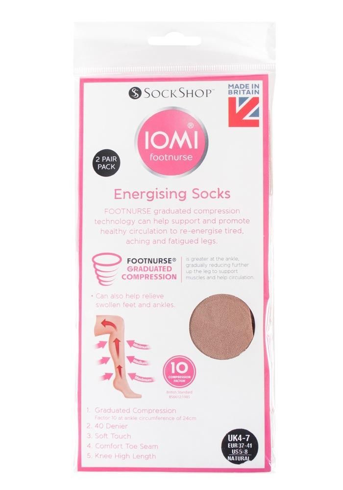 IOMI 2 Pack Womens Anti Fatigue Graduated Compression Knee High Energizing Socks