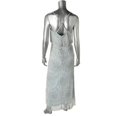 Adrianna Papell New Blue Spaghetti Strap Cross-Back Blouson Beaded Gown 12  $347