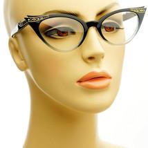 50s Vintage Retro Women Cat Eye Clear Lens Rhinestone Gradient Black Eye... - $10.84