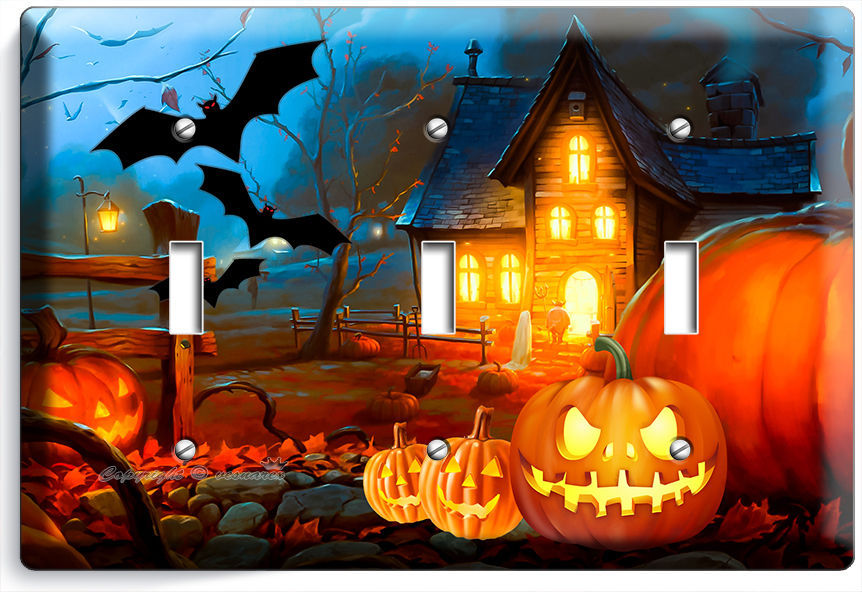 HALLOWEEN SCARY GHOST PUMPKINS TRIPLE LIGHT SWITCH WALL PLATE COVER DECORATION