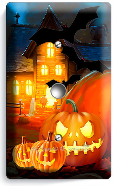 Primary image for HALLOWEEN SCARY GHOSTS PUMPKINS LIGHT DIMMER CABLE WALL PLATE COVER DECORATION
