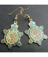 Cloisonne Enamel Turtle Earrings - Blue / Green - $9.95