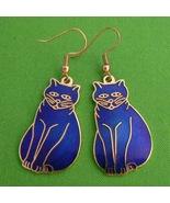 Blue Cloisonne Enamel Dangle Kitty Cat Earrings w/ Gold Detail - $9.95