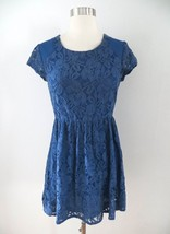 Urban Outfitters size XS blue floral lace print short sleeve dress cobalt - £15.02 GBP