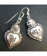 Cat n Heart Sterling Silver Dangle Earrings - $17.95