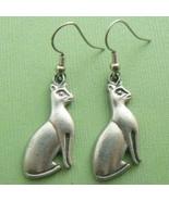 Regal Bast Cat Pewter Dangle Earrings - $9.95