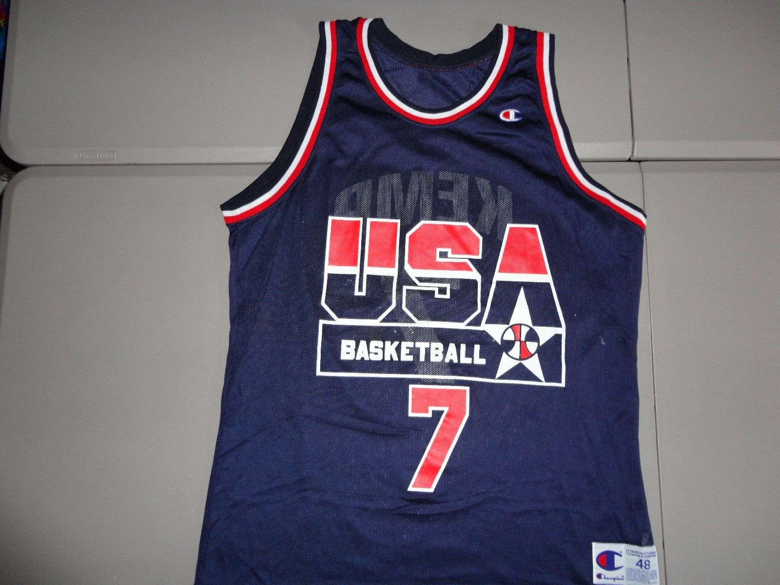 Primary image for Vintage Champion USA Dream Team #7 Shawn Kemp 1994 Olympics Basketball Jersey 48
