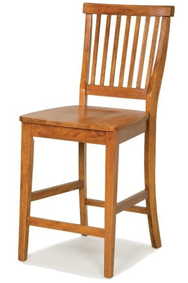 Wooden bar stool with back chair oak finish kitchen for Comfortable bar stools with backs
