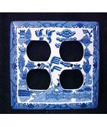 Blue Willow Porcelain Blue White Double Outlet Cover Plate 4 Holes Colle... - $14.67