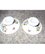 White Bone China Pillar Candle Holders by Aedalt (Butterfly decals) - $7.90