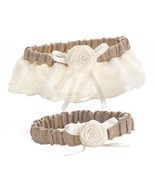 Country Wedding Garter Set Burlap and Lace Brid... - $16.04