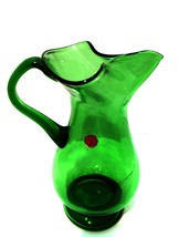 Vintage Forest Green Glass Pitcher Rare Made in Italy 8 inches Tall    - $58.40